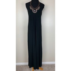 Tommy Bahama Black Embroidered Halter Maxi Dress